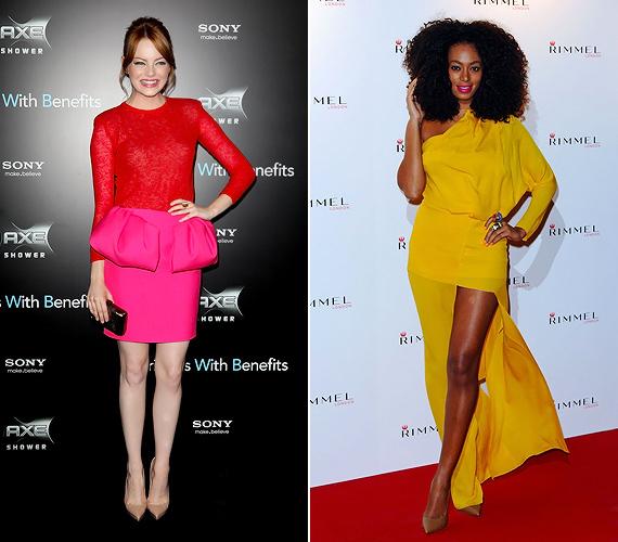 Emma Stone és Solange Knowles divatos élénk színekkel vette le a lábáról a Vogue szerkesztőségét. A piros-pink összeállítás egy Giambattista Valli-, a lebegő szabású sárga ruha pedig egy Acne-remekmű.