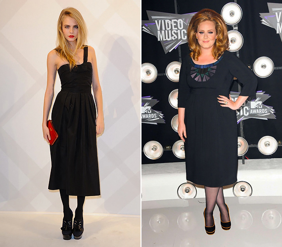 A fekete Burberry koktélruhák törékeny és telt alkaton is jól mutatnak. Ezt bizonyítja az ismert modell, Cara Delevingne és a fiatal énekesnő, Adele választása.
