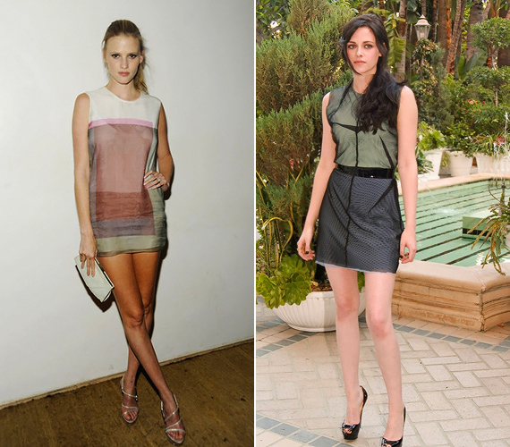 Akik nem félnek minit viselni: Lara Stone egy falatnyi Calvin Klein ruhában, Kristen Stuart pedig egy mutatós Marios Schwab darabban villogtatta szexi lábait.