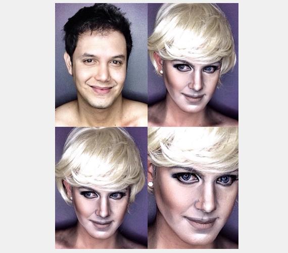 Lady Diana olyan ikon, aki nem maradhatott ki a sorból, de Paolo itt kissé mellényúlt, hiszen a néhai hercegnő ennél sokkal visszafogottabb sminket hordott.