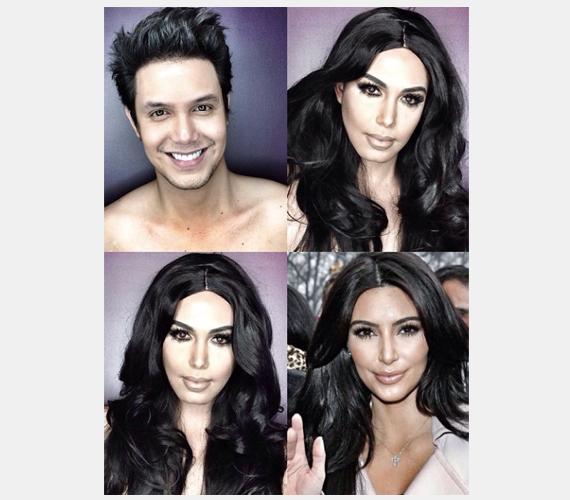 Paolónak nem volt nehéz dolga Kim Kardashiannel, hiszen köztudott, a celeb mindig sok réteg sminket visel, hogy a legelőnyösebb arcát mutassa.