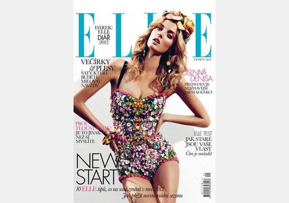 Denisa Dvorakova modell a cseh Elle magazin címlapján pózol, karjai pedig egy-egy fogpiszkálóban végződnek.