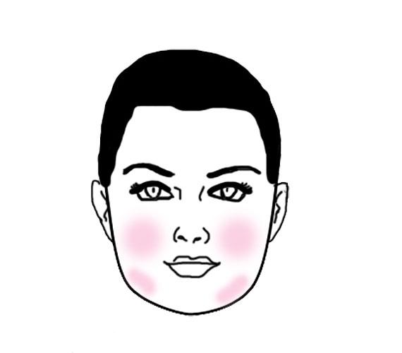 Ha négyszögletes az arcod, akkor az arc almácskáira vidd fel a festéket, illetve egy picit az állad oldalára is.