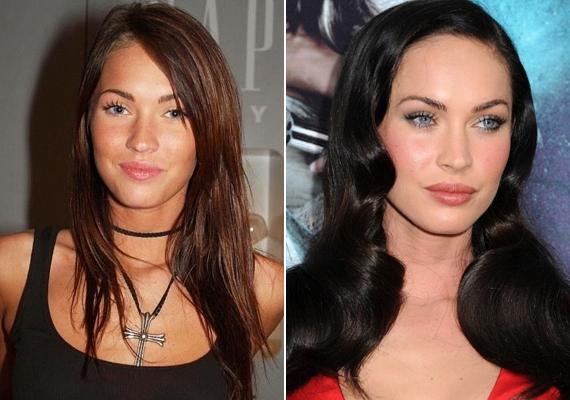 Ugyanez elmondható Megan Foxról is. Hiába gyönyörű még mindig a színésznő, igazi, hamvas szépsége a plasztika előtti időkből már csak emlék.