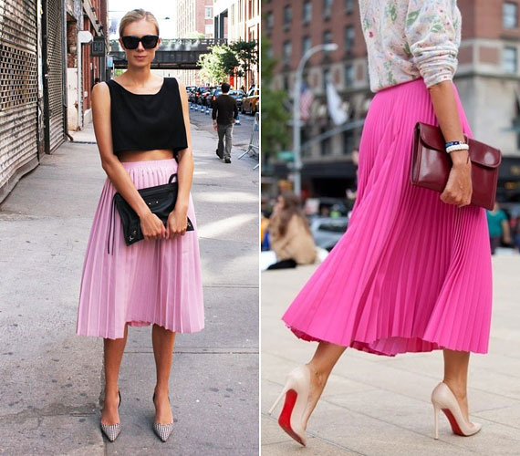 Az önmagában is nagyon nőies ruhadarabot még inkább azzá teheti a rózsaszín. A többi ruhadarab legyen visszafogottabb, hogy ne legyen túl vattacukros a hatás.