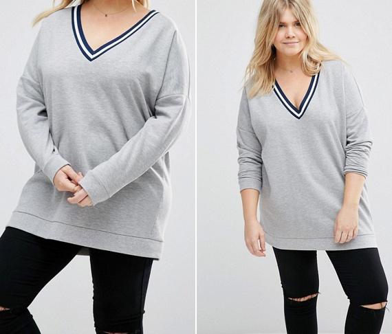 A laza, sportos pulcsiknál nagyon előnyös, ha a pulóver alja és az ujjai kicsit szűkülnek, mint a képen, hiszen így kiemelik, hogy milyen vékonyak a végtagjaid, és kisebbnek tűnik a popsid is. Különösen előnyös, ha V-nyakú változatot választasz, ami nemcsak nőies, de a tokádról is elvonja a figyelmet.