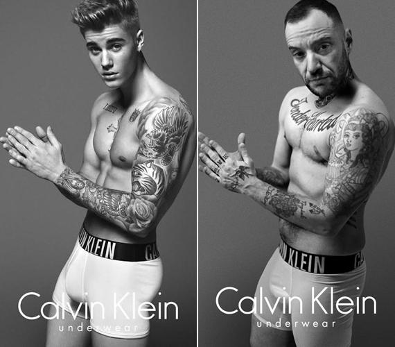 A Calvin Klein eredeti hirdetésén Justin Bieber szerepelt, aki lágy vonásai miatt kevésbé kelt maszkulin benyomást, mint a jobb oldali férfi.
