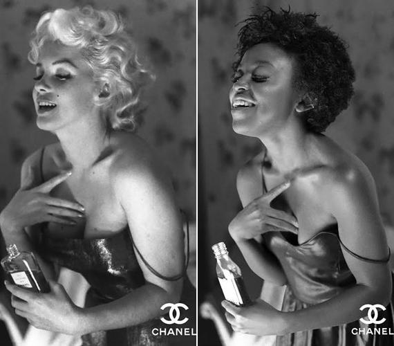 Marilyn Monroe és a Chanel parfüm ikonikus párost alkottak. A pózt megismétlő nő is legalább annyira kacérnak tűnik a fotón.