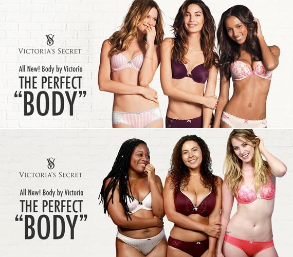 A Victoria's Secret modelljei mind nagyon vékonyak, míg, ahogyan az alsó képen is látszik, a nők ennél sokszínűbbek - az alakjuk tekintetében is.
