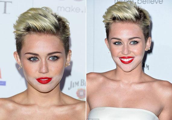 Miley Cyrusnak csak az arca alsó felére jutott a fényvisszaverő púderből.