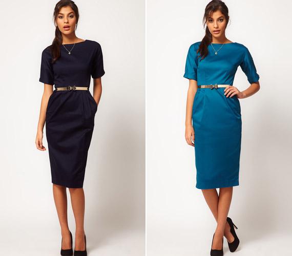 A szigorú, egyenes fazon megnyújtja az alakot, főleg, ha sötét színű a ruha.