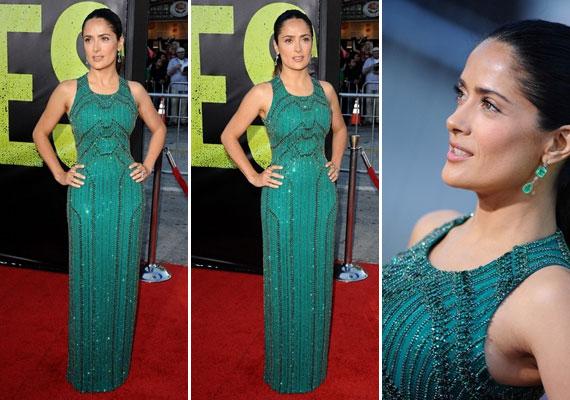A testre simuló Gucci ruha remekül áll a teltkarcsú színésznőn, a gyöngyökből kirakott díszítés sudárabbnak mutatja.