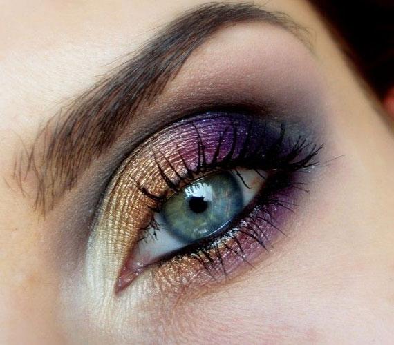 A kék szemhez jól passzol a lila és a bronzszín is, ezeket nyugodtan lehet keverni, de sötét hajhoz válassz a lilából is sötétebb árnyalatot.