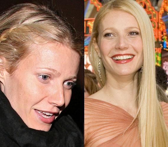 Gwyneth Paltrow-nál nincs egetverő különbség a kikészített arc és a sminkeletlen között, 40 évesen remekül néz ki.