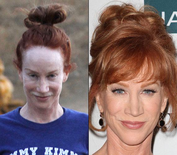 Kathy Griffin 52 éves komika, sápadt arcát igencsak feldobja a smink.