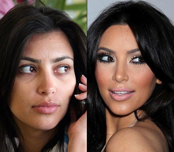 Kim Kardashian erős sminkje szinte a védjegyévé vált, de smink nélkül is jól mutat, élete párjának jobban is tetszik natúran.