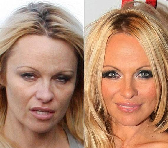 Pamela Anderson kinézetét igencsak összerántja a smink, de 46 évesen is szép a bőre, még akkor is, ha nem alapozta le.