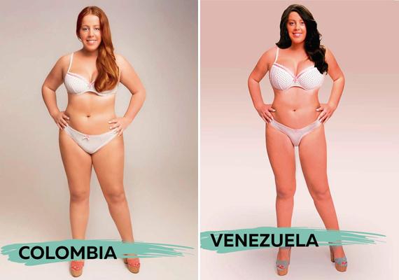 A dél-amerikai szépségideálokról abszolút a nőiesség sugárzik. Bár Kolumbia és Venezuela szomszédos országok, bizonyos eltérések megmutatkoznak. Ami rögtön feltűnik, az a hajszín, de a kolumbiai képen a nő kicsit zömökebb alkatú is: kisebb a melle és vastagabbak a combjai.