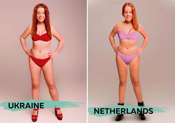 Érdekes az is, hogy mind az ukrán, mind a holland művész vörös hajjal képzelte el a tökéletes nőt. Bár a jobb oldali képen a lány bőre barnább, a combok közti távolságtól eltekintve alkatilag hasonló eredményre jutottak a két országban.