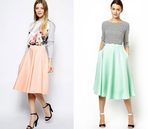 A klasszikus A-vonalú szoknya pasztell színekben is sok helyen kapható lesz.