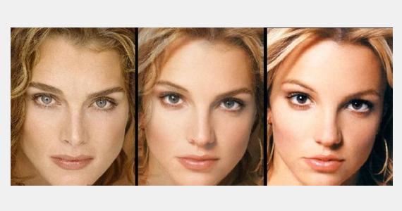Britney Spers és Brooke Shields közös montázsa sem sikerült rosszul, bár a két híresség külön-külön sokkal karakteresebb arccal rendelkezik, mint összemosva.