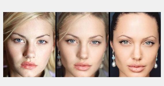 Angelina Jolie védjegyévé vált híres szája mandulavágású szemével egészen másképp mutat Elisha Cuthbert arcában, illetve az ő színeivel.