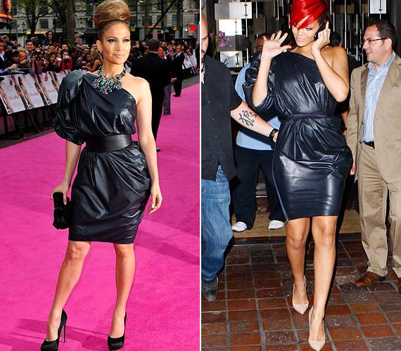 Jennifer Lopez és Rihanna ugyanolyan bőrruhát választott, mely merev anyaga és buggyos ráncolása miatt picit szélesítő hatású. Mivel Jennifer popsiban és csípőben erősebb, mint vállban, ez a fazon nem volt túl szerencsés választás számára, bár a derekát szépen kihangsúlyozta. Rihanna sokat fogyott az utóbbi időben, de ez a ruha nem tette túl látványossá az eredményt.