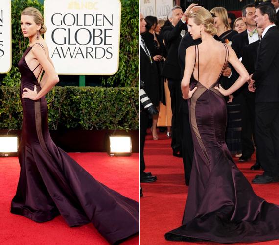 Taylor Swift sem az a magamutogató típus, így mindenkit meglepett, amikor ebben a padlizsánszínű ruhában jelent meg a 2013-as Golden Globe-on. Az oldalán átlátszó, a hátat teljesen szabadon hagyó ruhával az énekesnő valószínűleg azt próbálta kifejezni, hogy kinőtt a szende fiatal lányka szerepéből.