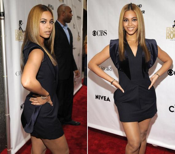 Beyoncé, jobban mondva a tervező, érdekes szabással tette lazábbá ezt a darabot. A kis zsebszerűségtől nem lesz olyan szűk a ruha, és elfér a has.