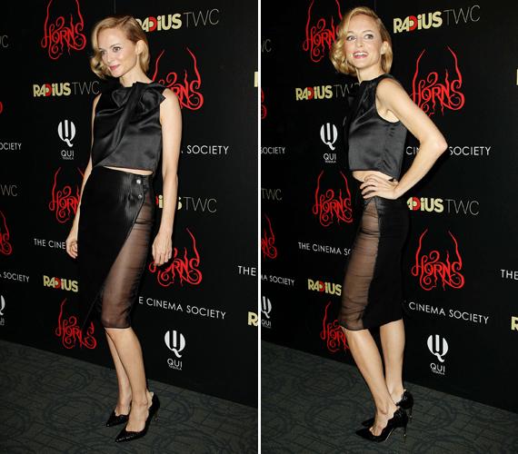 Heather Graham a Szarvak című film New York-i premierjén 2014-ben. A szoknyája oldalt teljesen áttetsző volt.