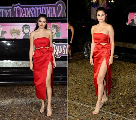 Selena Gomez a Hotel Transylvania 2 nyári bemutatójára egy igencsak magasan felsliccelt öltözéket vett fel.