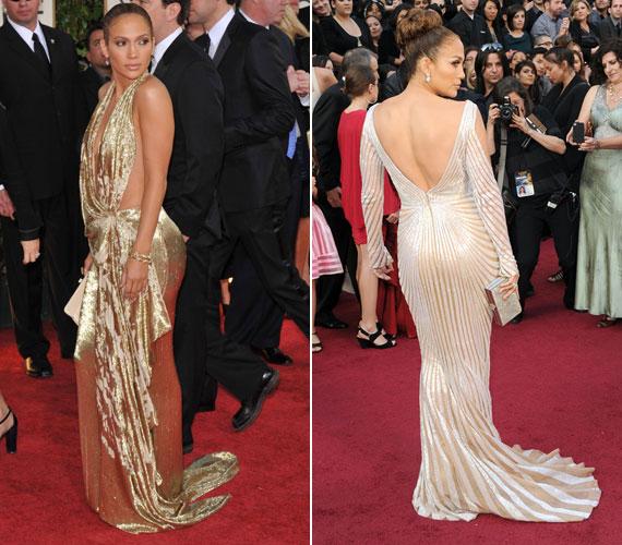 Jennifer Lopez nem maradhat ki egy ilyen összeállításból. Ő a testhezálló fazonok mellett a fényes anyagokkal is fokozza a hatást.