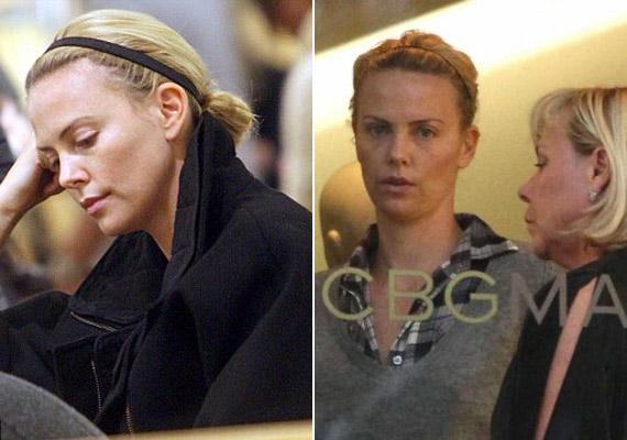 Charlize Theron olvasgat, és a mamájával shoppingol. Smink nélkül is nagyon jól fest, 37 évesen is feszes a bőre.