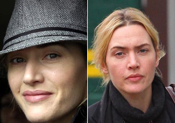 Kate Winslet smink nélkül is lehetne az angol rózsa, ha jobb kedvében van, és nem húzza össze morcosan a homlokát, akkor remekül fest természetes valójában is.