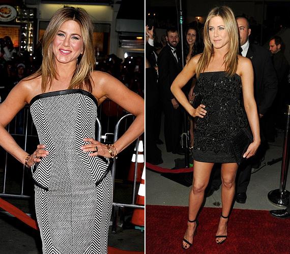 Bár Jennifer Aniston külseje nem sokat változott a Jóbarátok sorozat óta, öltözködési stílusa egyre kifinomultabb lett. Mindig egyszerű, ízléses szettet választ, mellyel nem lehet hibázni, és szívesen mutogatja formás, feszes lábait, melyek hozzátesznek fiatalos megjelenéséhez.