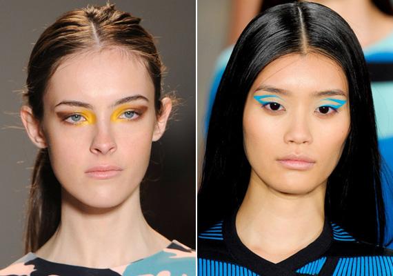 A sárga sohasem volt népszerű szemfestékárnyalat, de most sokan megkedvelhetik. A mértani pontossággal megfestett szemkontúrokkal viszont biztos, hogy senki nem szórakozik majd otthon.