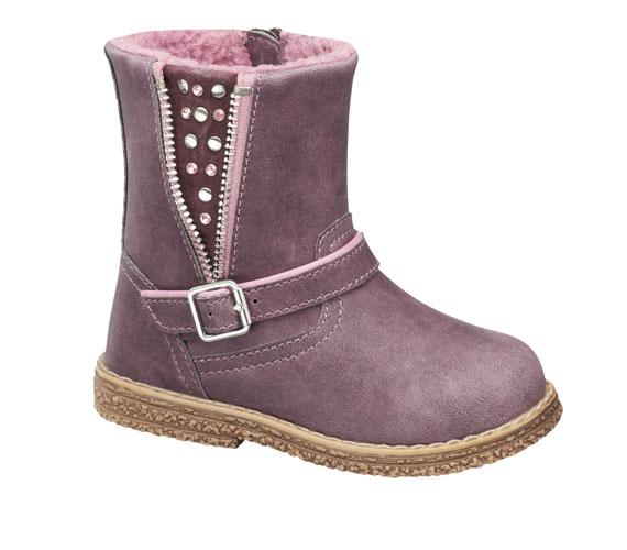 Csizma kislányoknak lilában, rózsaszín strasszokkal, 5990 forint.