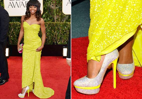Swarovski és neonsárga cipősarok, kicsit sok a jóból.