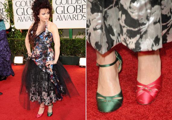 Helena Bonham-Carter szívesen öltözik polgárpukkasztó ruhákba, és a cipői sem maradhatnak ki a mókából.