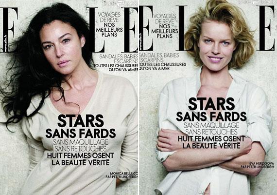 Monica Bellucci és Eva Herzigova az Elle címlapján smink nélkül.