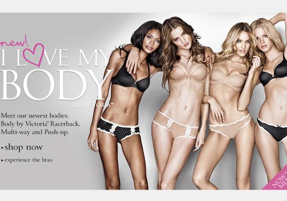 A kampány egy másik fotója, mely azt mondja, hogy a képen szereplő hölgyek szeretik a testüket.