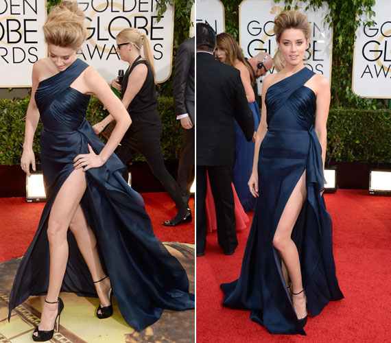 Amber Heard ruhája épphogy takarja a színésznő intim részeit, autóból kiszállni pedig lehetetlen úgy, hogy ne villantana.