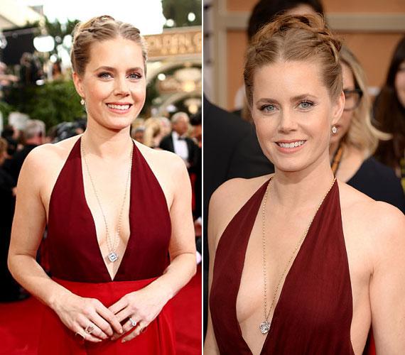 Amy Adams Golden Globe-on viselt ruhája annak ellenére nem ízléstelen, hogy az egész mellközt szabadon hagyja. Ez az előnye a nem túl nagy melleknek.