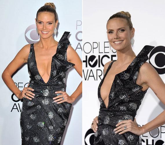 Heidi Klum mintha elveszítette volna a stílusérzékét, legalábbis ezt lehet levonni a mélyen dekoltált ruhából, amit a People's Choice Awardon viselt.
