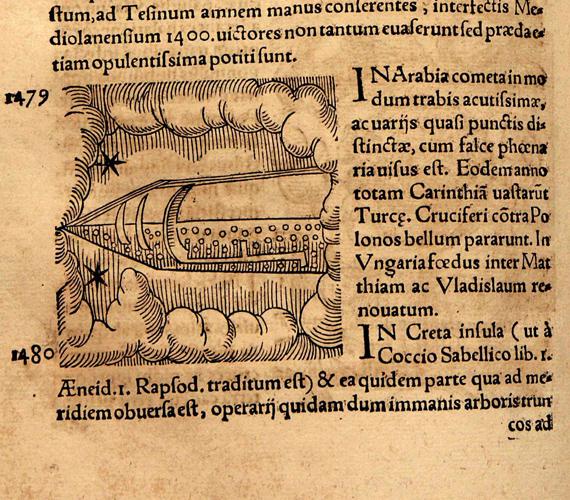 Conrad Lycosthenes 16. századi krónikája egy arábiai, 1479-es UFO-észlelésről számol be. A könyvet Ausztráliában őrzik.