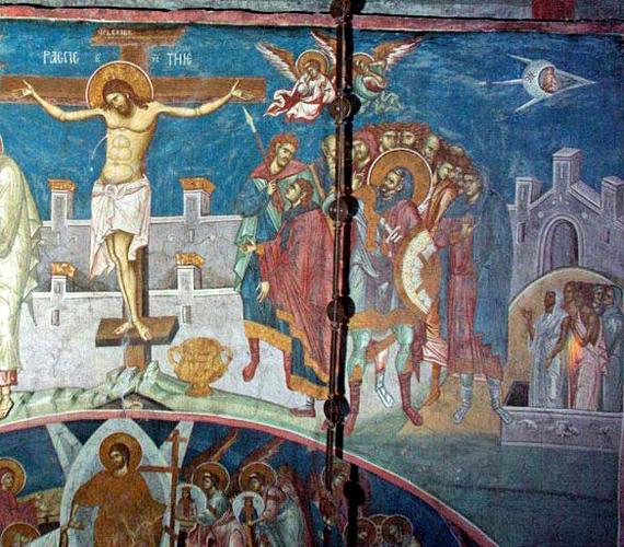 A Koszovóban található, 1350-ben készült freskó sarkában tisztán kivehető a repülő tárgy és utasa.