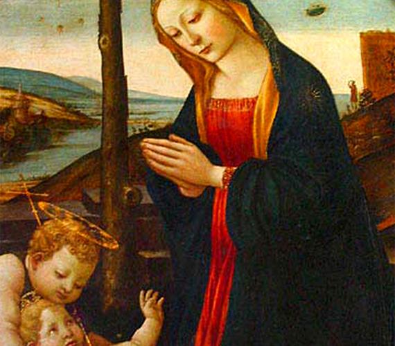 Domenico Ghirlandino Madonna Szent Giovanninóval című, 15. századi képének felső részén mintha égi járművek tűnnének fel.