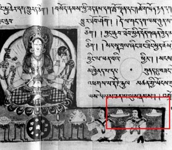 A szanszkrit Prajnaparamita Sutra 10. századi tibeti fordítását egy japán múzeumban őrzik. A sarokban látható járművek eredete máig rejtély.