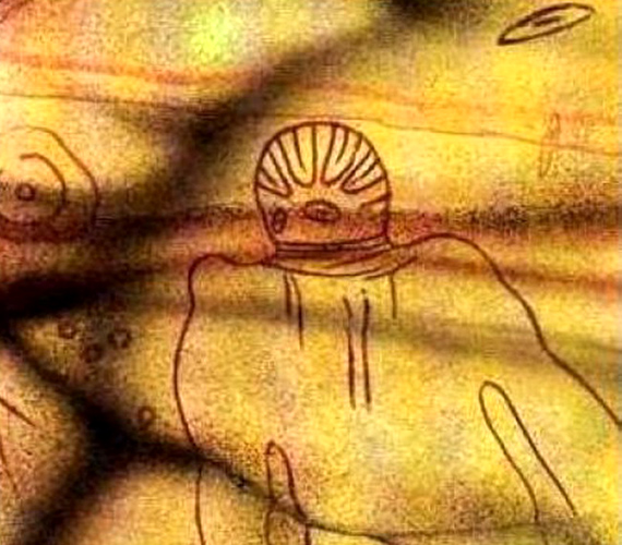 A rajzok a Szaharában található Tassiliből származnak. Az i. e. 6000-ből származó kép jobb felső sarkában egy égi jármű is látható.