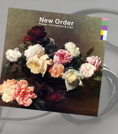 New Order: Power, Corruption & LiesA New Order nagysikerű második albuma 1983-ban jelent meg. A borító különlegessége a Peter Saville által tervezett színkódalapú design, ami a zenekart jelképezte. A kép a francia festő, Henri Fantin-Latour egyik festményének reprodukciója. Klasszikus, romantikus stílusával tökéletes ellentéte a modernizációt képviselő tipográfiai színkódoknak, mely ellentét hangsúlyozása Saville kifejezett célja volt.